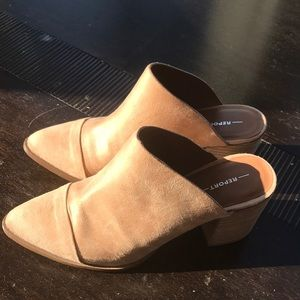 Report tan faux leather mules